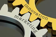 Innovation marketing concept on the gearwheels, 3D rendering Stock Illustration