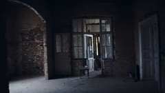 Abandoned house 19th century during the Russian, imperial nobility ruined Stock Footage