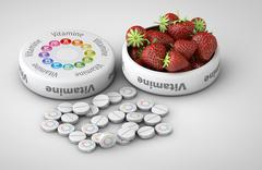 Close up of Strawberry and pills isolated - vitamin concept Stock Illustration