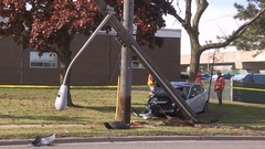 Car accident and crash scene in the city streets Stock Footage