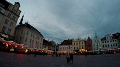 Town hall square in the Old city in Tallinn Estonia Stock Footage
