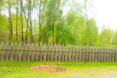 Wooden fence in the fortress of Lappeenranta. Stock Photos