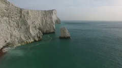 Aerial view of chalk cliffs at Seaford Head, East Sussex Stock Footage