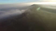 South Downs aerial mist. Stock Footage