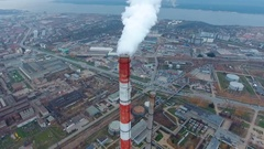 Coal fire power statio. Smokig pipe, close up. Aerial Stock Footage