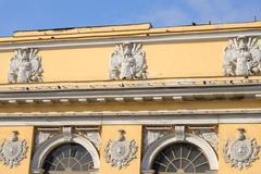 Fragment of an old building in the classical style in the center of St. Peter Stock Photos