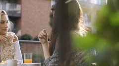 Group of friends enjoying their time at outdoor party in backyard. Stock Footage