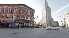Wicker Park intersection in Chicago Stock Footage