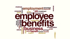 Employee benefits animated word cloud Stock Footage
