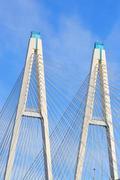 Cable-braced bridge in St.Petersburg. Stock Photos