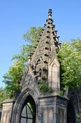 Fragment of crypt in the old Jewish cemetery. Stock Photos
