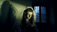 Bride ghost story. Halloween night Stock Footage