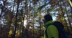 Hiking with sun flares Stock Footage