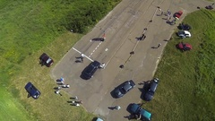 Aerial view of two BMW e30 at the drag race Stock Footage