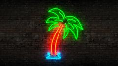 Neon palm tree Stock Illustration