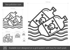 Sea pollution line icon Stock Illustration