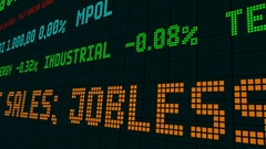 Stock market ticker us home sales jobless claims rise Stock Footage