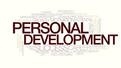 Personal development animated word cloud. Kinetic typography. Stock Footage