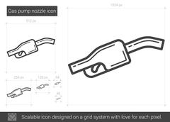 Gas pump nozzle line icon Piirros