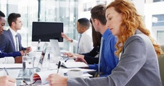 Businesspeople in meeting at conference room Stock Footage