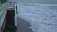 Storm Surge And Rough Seas Ahead Of Hurricane Landfall Stock Footage