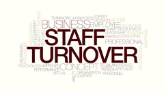 Staff turnover animated word cloud. Kinetic typography. Stock Footage