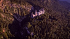 Aerial forward motion Neuschwanstein landmark castle romantic fairytale sunny Stock Footage