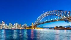 4k timelapse video of Sydney CBD from sunset to night Stock Footage