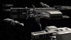 Fleet of spaceships in space Stock Footage