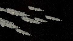FLYING FLEET spaceships in space Stock Footage