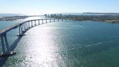 Aerial Shot over the Coronado Bridge in San Diego - Day Time Stock Footage