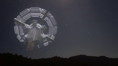 Large spaceship at night UFO stars Arkistovideo