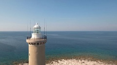 Aerial - Flyby lighthouse of Veli Rat on the island Dugi Otok Stock Footage