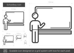 Schoolboy line icon Stock Illustration