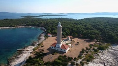 Aerial - Panoramic view on a lighthouse of Veli Rat Stock Footage