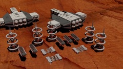 Mars spaceships taking off scifi Stock Footage