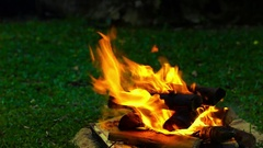 Green grass with fire pit Stock Footage