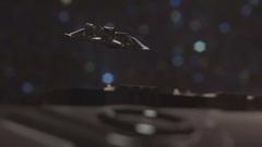 Spaceship firing laser shooting Stock Footage