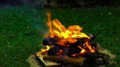 Close shot of a fire pit evening Stock Footage