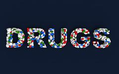 """3d render of pills and capsules arranged to form word """"Drugs"""" Stock Illustration"""