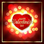 Happy Valentines day Greeting Card and Heart Light Vintage Vector Background Stock Illustration
