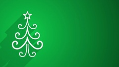 Christmas tree shape with long shadows on green 4k (4096x2304) Stock Footage