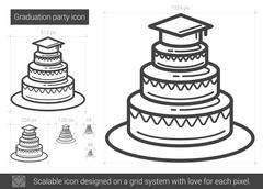 Graduation party line icon Piirros