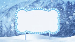 Blank billboard and christmas landscape loop 4k (4096x2304) Stock Footage