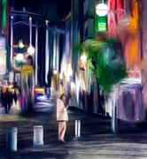 Abstract oil paining tokyo city Piirros