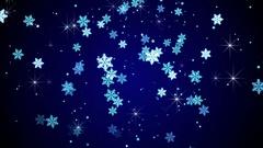 Blue glow snowflakes falling loop animation 4k (4096x2304) Stock Footage