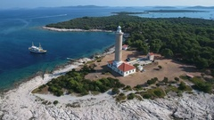 Aerial - Flying around the biggest lighthouse in the Adriatic Stock Footage
