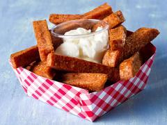 Rustic comfort food snack spam fries Stock Photos