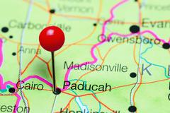 Paducah pinned on a map of Kentucky, USA Kuvituskuvat
