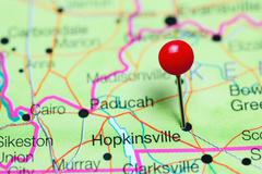 Hopkinsville pinned on a map of Kentucky, USA Stock Photos